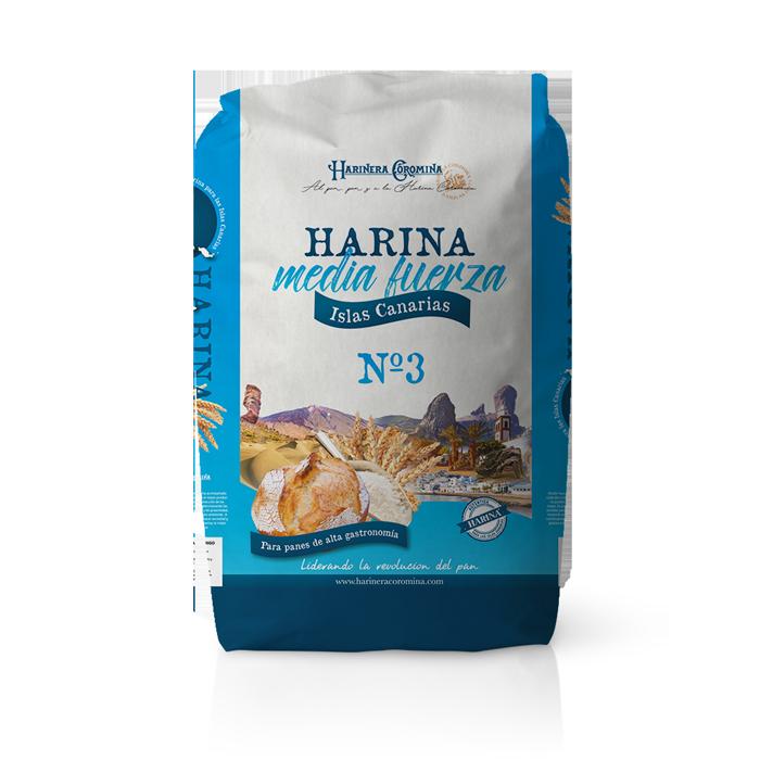 Harinera Coromina, harinas de la gama locales, harina de media fureza Islas Canarias No. 3